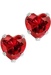 3.00 Ct 925 Sterling Silver Red Garnet CZ Heart Shape Stud Earrings 6MM