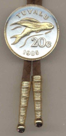 Gold on Silver Tuvalu 20 cent Flying Fish Bolo Tie BT-167