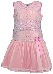 Euphoria Girls' A-line Frock (306F_5-6 Years, Pink, 5-6 Years)