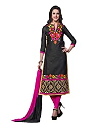 Women's Black & Pink Embroidered Cotton Semi Stitched Salwar Suit