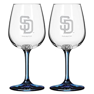 MLB San Diego Padres Satin Etch 2-Ounce Wine Glass (Pack of 2) by Boelter