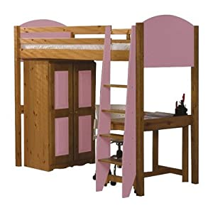 Single High Sleeper Bunk Bed Pieces Included: Bed Frame / Tall Boy / 5 Drawer Chest, Finish: Pink