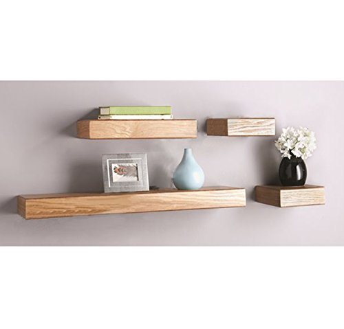 O & K Furniture 4-Piece Oak Multilength Floating Ledge Shelves