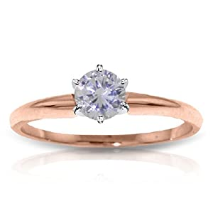 14k Solid Rose Gold Solitaire Ring with 0.35 CT. H-I, SI-2 Natural Diamond - Size 5.5