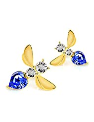EP Wear 15 x 16MM 18K Yellow Gold Plated Stud Earrings Bee with 3 Sapphire Stones Over It