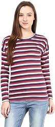 Hypernation Multi Color Stripe Round Neck Cotton T-shirt