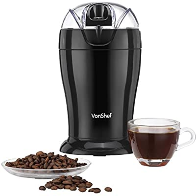 VonShef Whole Coffee Bean, Nut & Spice Grinder - Free 2 Year Warranty - Powerful 150W Motor with Stainless Steel Twin Blades by VonShef