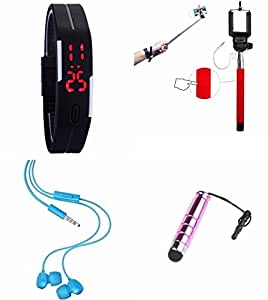 Karbonn Sparkle V_ Compatible Ceritfied Mobile Care Combo Kit of LED Male/Female Watch, Rainbow AUX Selfie Stick, Earphones, Touch Screen Stylus Stick