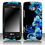 LG Ally VS740 Cell Phone Blue Flower Protective Case