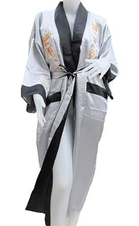 Authentic Thai Dragon Kimono- Reversible- Pure Ivory Color at Amazon