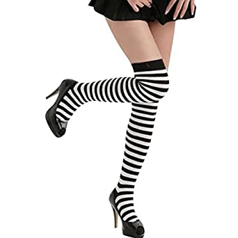 CHN'S Women Halloween Knee Thigh High Lingerie Strip Socks Stockings Hosiery