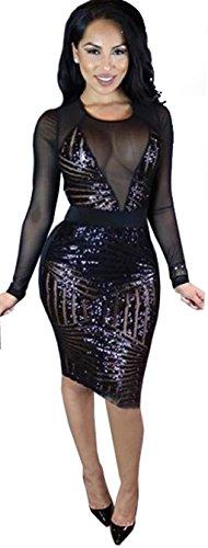 Kearia Womens Sexy Black Sequin Mesh Splice Long Sleeves Clubwear Party Midi Dress Black Medium