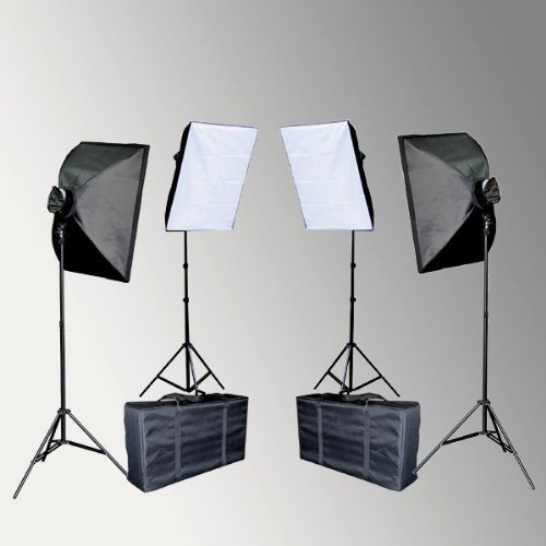ePhoto 4000 WATT Digital Video Film Continuous Light Set Lighting Kit with 2 Carrying Case - 4 light stands, 4 softboxes, 4 Light Heads, 20 perfect daylight bulbs by ePhoto INC VL9026sx2