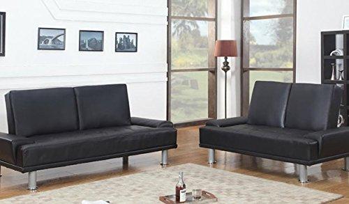 Furniture2go UFE-1409 Lorena Metallic Black Futon Sofa + Loveseat - Synthetic PU Leather