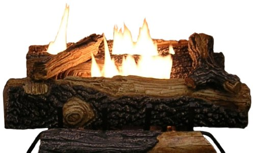 For Sale! Sure Heat Mountain Vernon Oak Vent Free Dual Burner Log Set for Liquid Propane Fueled Fire...