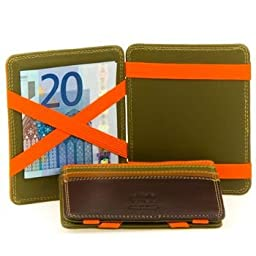 Mywalit Compact 3 Credit Card Coin Purse with Secure Zipper Magic Wallet Quality Genuine Leather Gift Boxed 111 (Safari Multi)