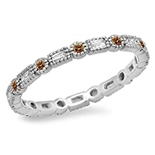 buy 0.40 Carat (Ctw) 14K White Gold Champagne & White Diamond Vintage Wedding Eternity Band Stackable Ring