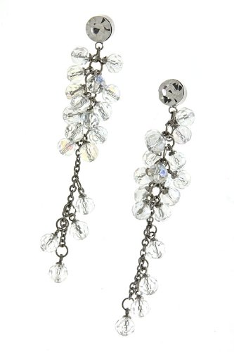 Trendy Fashion Jewelry Bead Cluster Chain Drop Earrings By Fashion Destination | (Clear)