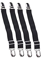 Bed Sheet Straps (4, Black)