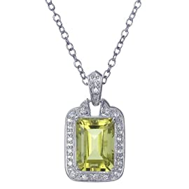 6CT Emerald Cut Natural Lemon Quartz Pendant In Sterling Silver With 18