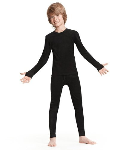 ClimateSmart Boys Long Sleeve Crew Neck and Pant - 2 PC Set-Black, S (Thermal Sports Underwear compare prices)