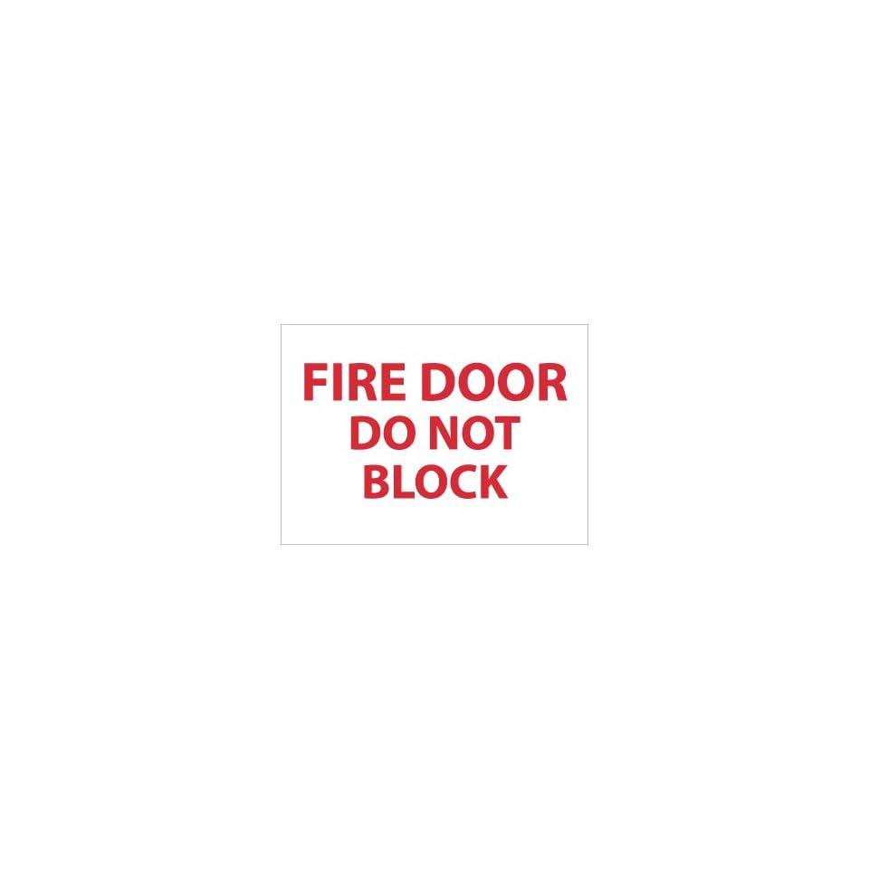 Labels  Fire Door Do Not Block, 3X5, Adhesive Vinyl, 5/Pk