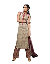 IndiWeaves Women Cotton Printed Light Brown Dress Material