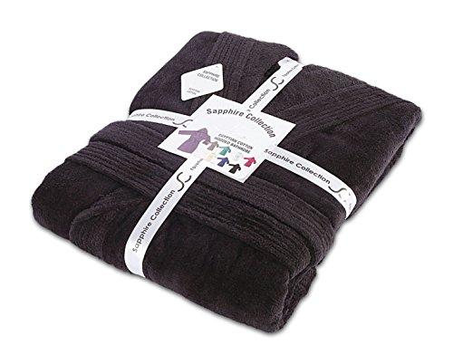 Herren/Damen Unisex 100% ägyptische Baumwolle Frottee mit Kapuze Schalkragen Bademantel alle Größen, 100 % Baumwolle, schwarz, S/M