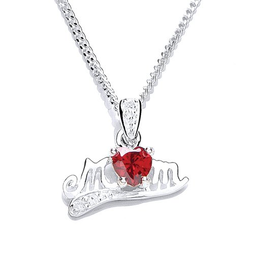 michic-silver-january-birthstone-mum-pendant-with-garnet-coloured-cubic-zirconia-on-a-46-cm-chain