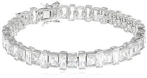 "Platinum Plated Sterling Silver Simulated Diamond Tennis Bracelet, 7.25"" from PAJ, Inc"