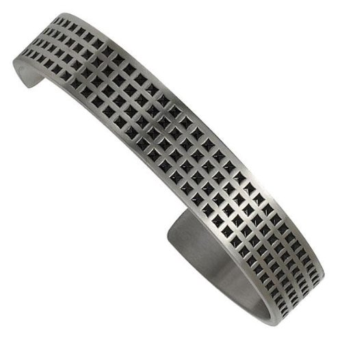 Men's Stainless Steel and Black Enamel Cuff Bracelet