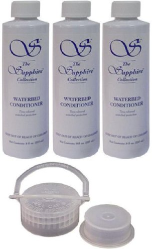 3 Bottles of Blue Magic 8 oz Sapphire Waterbed Conditioner with a Cap & Plug for Softside & Hardside Water Bed Mattresses