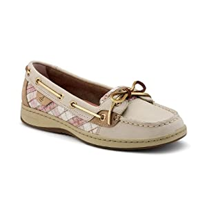 Sperry Angelfish Womens, Linen Leather/Oat Plaid Sequins, 5.5 M US