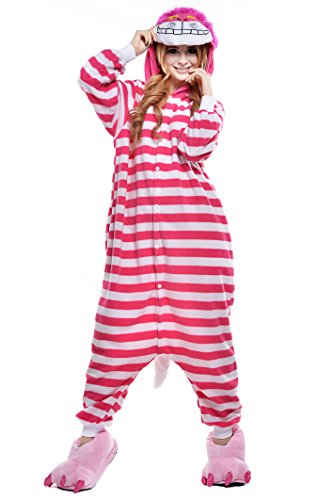 NEWCOAPLAY Unisex Onesies Pajamas Kigurumi Cosplay Sleepsuit Costume (M, Cheshire Cat)