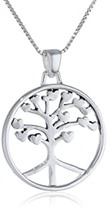 "Sterling Silver ""Roots Of Peace Run Deep"" Circle Tree Pendant Necklace , 18"""