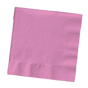 Creative Converting Touch of Color 2-Ply 50 Count Paper Beverage Napkins, Candy Pink