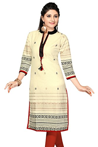 Chinese Collar Pakistani Style Long Khadi Kurti (Chest Size: 34)  available at amazon for Rs.549