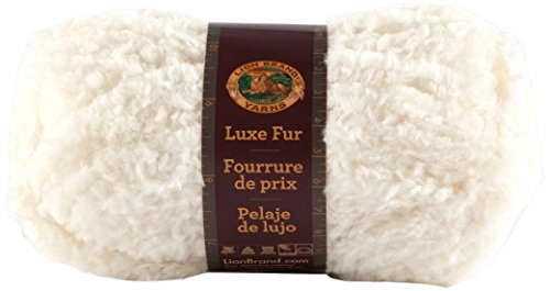 Lion Brand Luxe Fur Yarn, Ivory back-638779