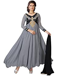 Women's Grey & Black Embroidered Georgette Suit