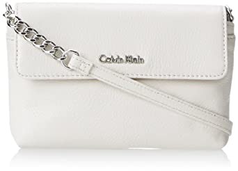 Calvin Klein 2 EG Pebble Cross Body Bag, White/Silver, One Size