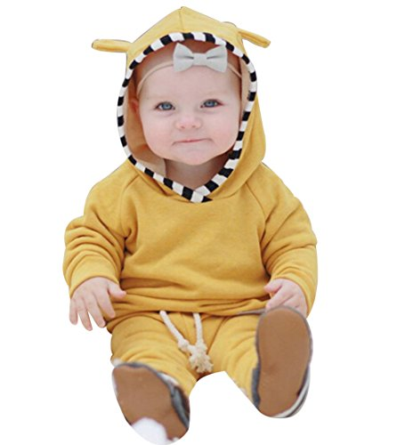 Infant Baby Boys Girls Cute Ear Long Sleeve Hoodie Tops Sweatsuit Pants Outfit Set (6-12 months, yellow)