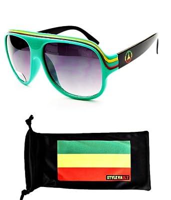 A07-rp Aviator Retro Millionaire Rasta Jamaican Sunglasses (Green/peace, Uv400)