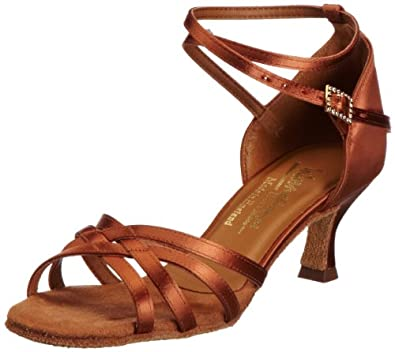 International Dance Shoes Women's Melissa Heels, Dark Tan Satin, 3.5 UK