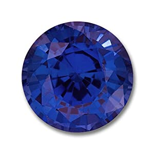 8.0mm Round Gem Quality Chatham Cultured Lab-Grown Blue Sapphire Weighs 2.50-3.00 Ct.