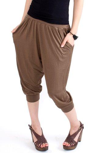 (ナドゥー) 14 nadoo color Yogawear fitness dance Jersey salad cropped pants 484 (カーキブラウン)