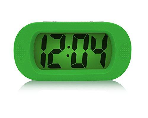 Einfach Lautlos LCD Digital Großbild Wecker Snooze / Licht Funktion Batterien mit Silikon Schutzhülle (Grün) jetzt kaufen