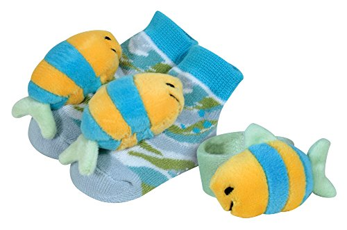 Stephan Baby Go Fish Wrist Rattle and Rattle Socks Gift Set, Blue Fish