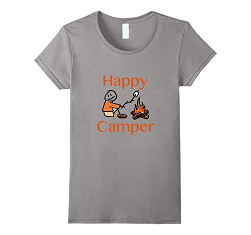 Women's Happy Camper Toasting Marshmallows T-shirt XL Slate