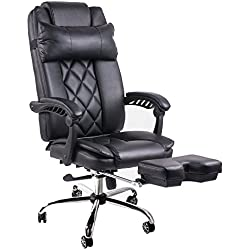 BTM girevole, schienale alto reclinabile con poggiapiedi Computer BOSS CHAIR-Sedia da ufficio in finta pelle, colore: nero