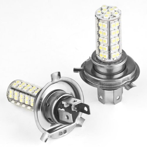 Astra Depot 2pcs Car H4 68-SMD 3528 6000K Xenon White LED Fog Light Bulb Daytime Running Lamp Lighting DRL 12V (Led Light Car H4 compare prices)